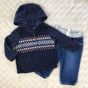 Carter's Baby Boy Outfit Fleece Hooded Top Jeans